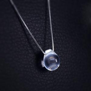 Water Drop Natural White Crystal Necklaces Pendant 925 Sterling Silver Tear Eyedrop Women 925 Pendant Jewelry NWP109 -