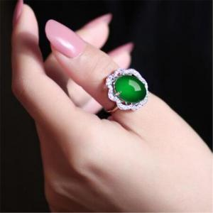 New Big 925 Silver Oval Natural Jade Rings for Women Sterling Silver Women Wedding Rings Jade Size 15*13 MM RWD849 -