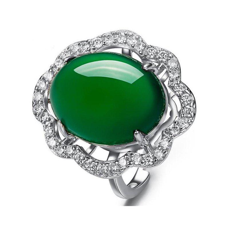 Sale New Big 925 Silver Oval Natural Jade Rings for Women Sterling Silver Women Wedding Rings Jade Size 15*13 MM RWD849