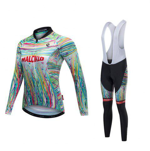 Shop Malciklo 18 Malciklo Cycling Jersey Winter Warm with Bib Tights Women's Long Sleeves Bike Compression Suits Quick Dry