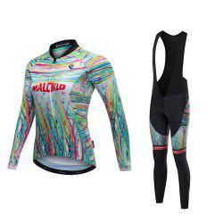 Malciklo 18 Malciklo Cycling Jersey Winter Warm with Bib Tights Women's Long Sleeves Bike Compression Suits Quick Dry -