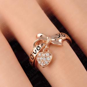 Women's Ring Stylish Bow Knot Love Heart Pattern Lettering Accessory -