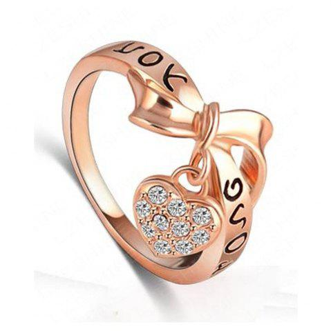 Shop Women's Ring Stylish Bow Knot Love Heart Pattern Lettering Accessory