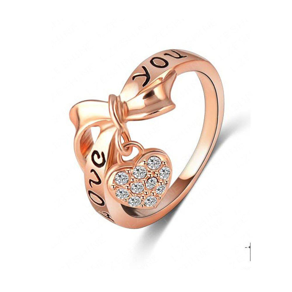 Shops Women's Ring Stylish Bow Knot Love Heart Pattern Lettering Accessory