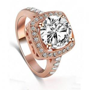 Women's Ring Elegant Stylish Square Zircon Ring Accessory -