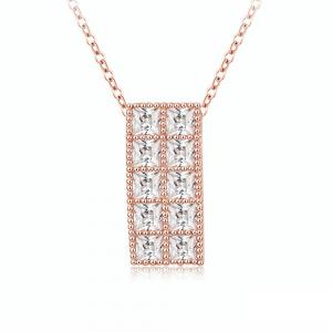 Women's Necklace Simple Style Rectangle Pattern Crystal Pendant Necklet -