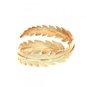 Women's Bracelet Personality Stylish Metallic Feather Leaf Pattern Accessory -