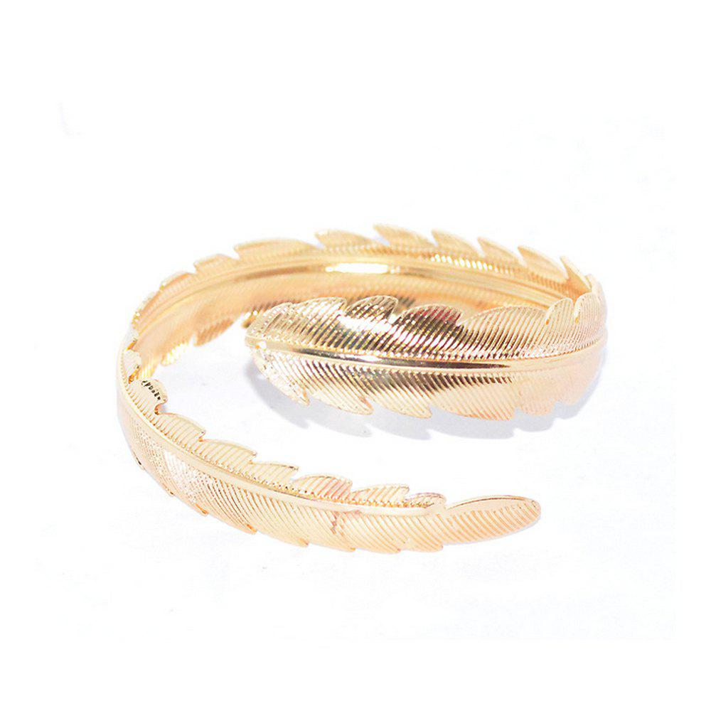 Outfit Women's Bracelet Personality Stylish Metallic Feather Leaf Pattern Accessory