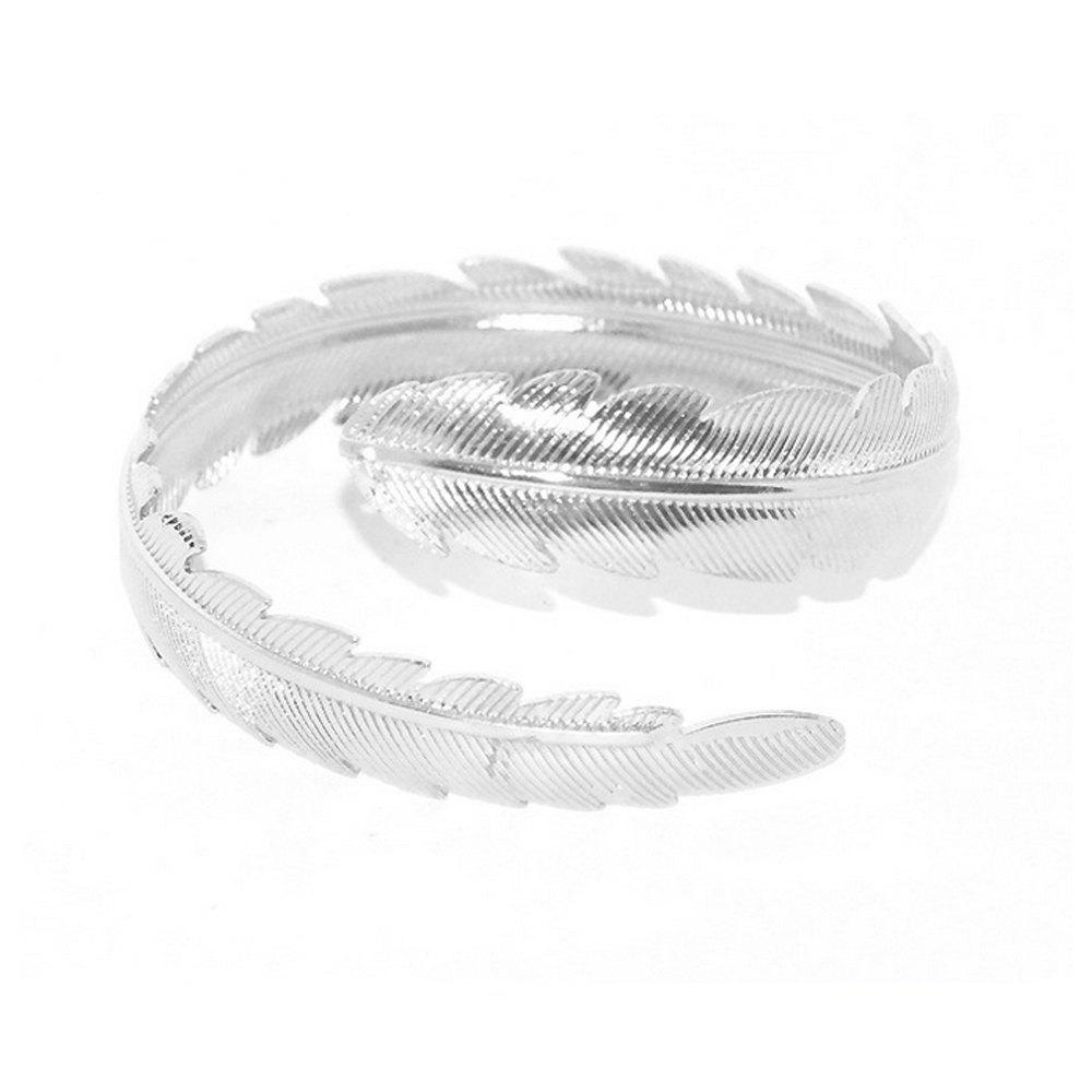 Shops Women's Bracelet Personality Stylish Metallic Feather Leaf Pattern Accessory