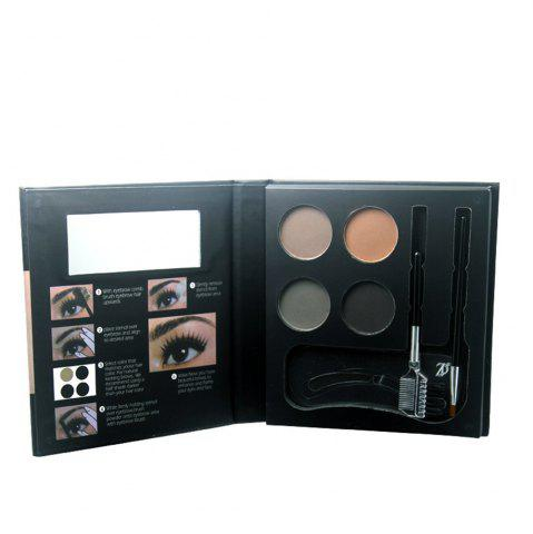 Outfit ZD F2100 4 Colors Eyebrow Powder + 2Pcs Makeup Brush + 3Pcs Eyebrow Stencils 1PC