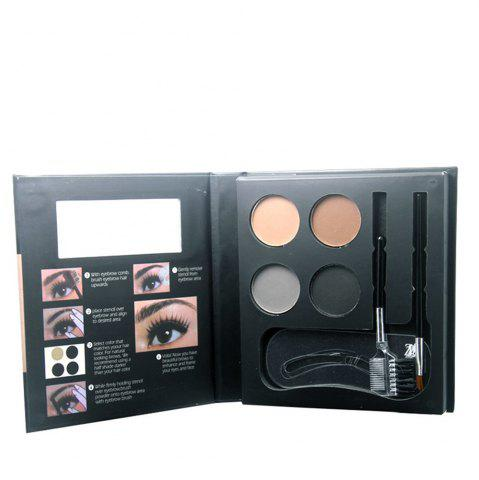 Outfits ZD F2100 4 Colors Eyebrow Powder + 2Pcs Makeup Brush + 3Pcs Eyebrow Stencils 1PC