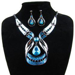 Women Fashion Jewelry Water Drop Pendant Necklace Earrings Blue Diamond Choker -