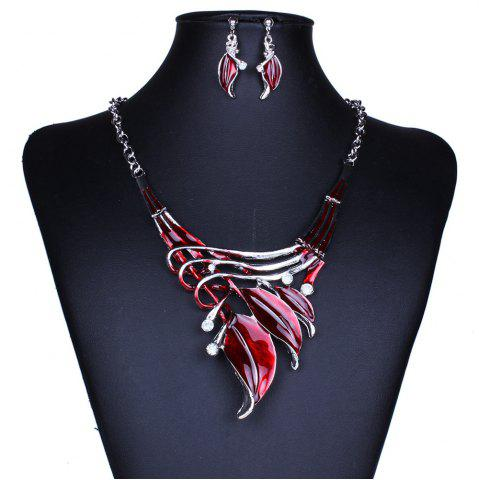 Latest Women Leaf Pendants Necklace Earrings Set Luxury Bridal Jewelry Choker