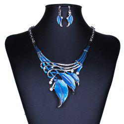 Women Leaf Pendants Necklace Earrings Set Luxury Bridal Jewelry Choker -