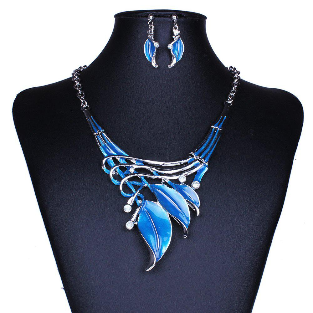 Affordable Women Leaf Pendants Necklace Earrings Set Luxury Bridal Jewelry Choker
