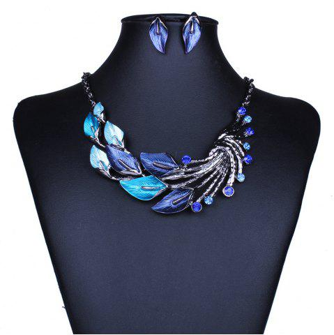 New Women Fashion Jewelry Choker Vintage Peacock Leaf Pendants Necklace Earrings Set
