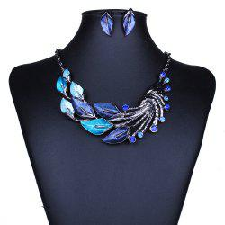 Women Fashion Jewelry Choker Vintage Peacock Leaf Pendants Necklace Earrings Set -