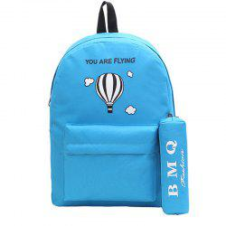 Two-Piece Printed Hot-Air Balloon Bag Slanted Backpack -