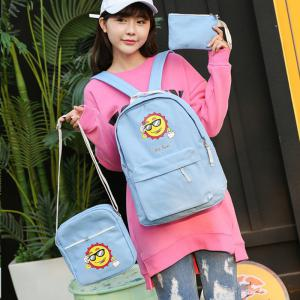Three-Piece Sun Canvas Student Backpack -
