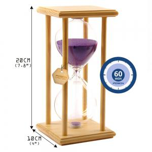 POSCN 60 Minutes Durable Glass Hourglasses Crude Wood Sand Timer for Time Management LP9007-0006 -