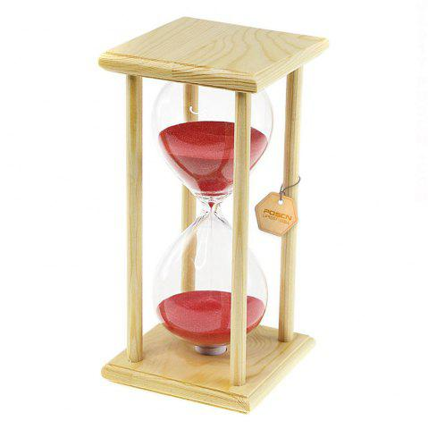 Sale POSCN 60 Minutes Durable Glass Hourglasses Crude Wood Sand Timer for Time Management LP9007-0006