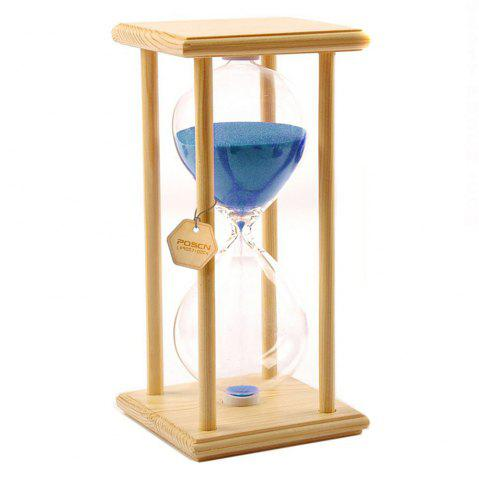 Fancy POSCN 60 Minutes Durable Glass Hourglasses Crude Wood Sand Timer for Time Management LP9007-0006