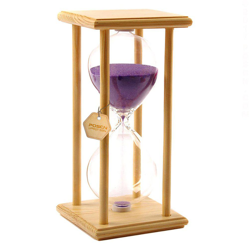 Hot POSCN 60 Minutes Durable Glass Hourglasses Crude Wood Sand Timer for Time Management LP9007-0006
