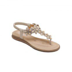 Ms Rubber Sole Applique Adornment Diamond Slip-On Sandals -