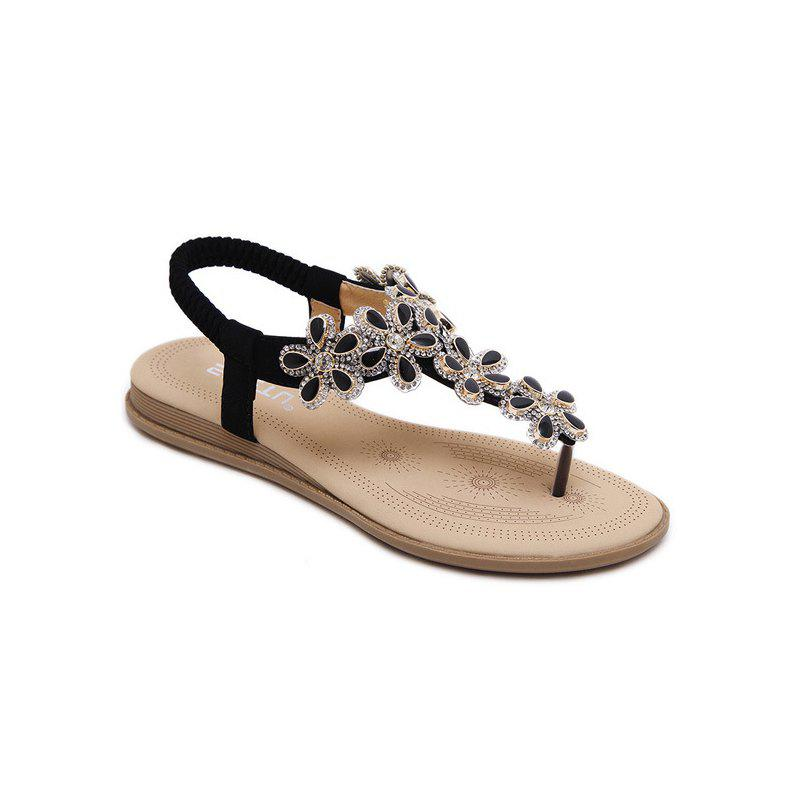 Sale Ms Rubber Sole Applique Adornment Diamond Slip-On Sandals