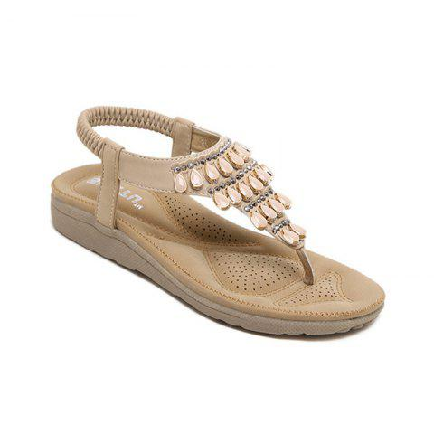 Sale Ladies Rubber Sole Water Drilling Flat Shoe Beach Shoes