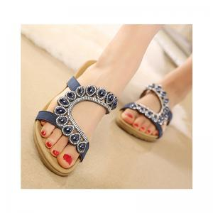 Ladies Rubber Sole Water Drilling Flat Beach Shoes -
