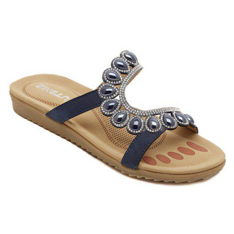 Fancy Ladies Rubber Sole Water Drilling Flat Beach Shoes
