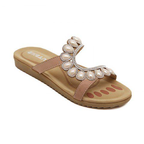 Shops Ladies Rubber Sole Water Drilling Flat Beach Shoes