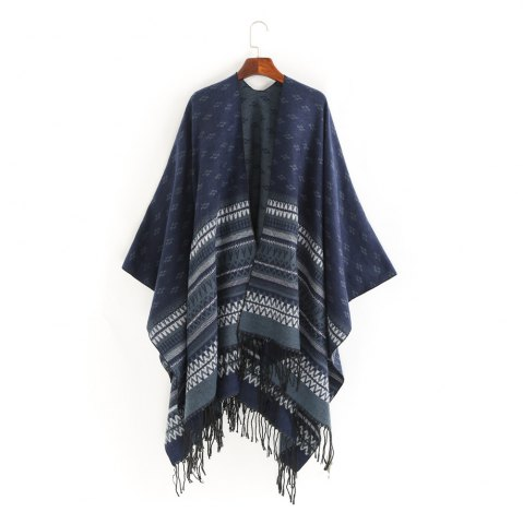 Sale thermal wave stripe fringed shawl