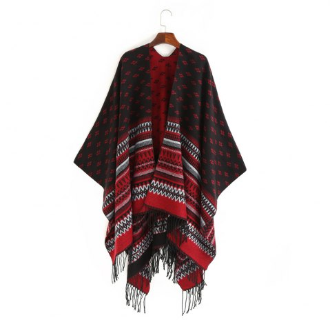 Affordable thermal wave stripe fringed shawl