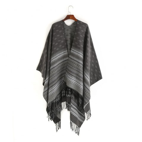 Unique thermal wave stripe fringed shawl