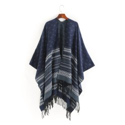thermal wave stripe fringed shawl -