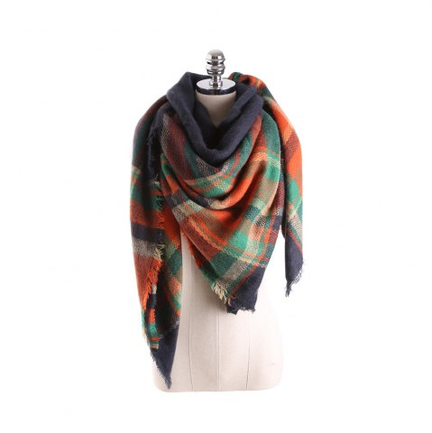 Shops Salybaby Lattice Stitching Multicolor Color Imitation Cashmere Scarf