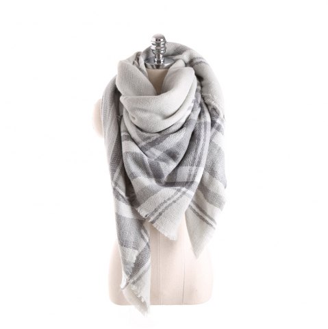 Shop Salybaby Lattice Stitching Multicolor Color Imitation Cashmere Scarf