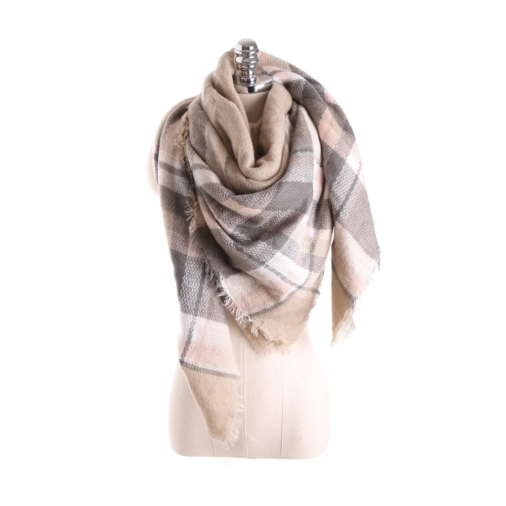 Sale Salybaby Lattice Stitching Multicolor Color Imitation Cashmere Scarf