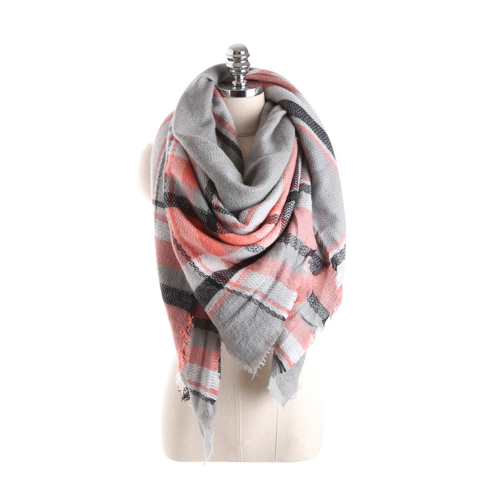 Online Salybaby Lattice Stitching Multicolor Color Imitation Cashmere Scarf