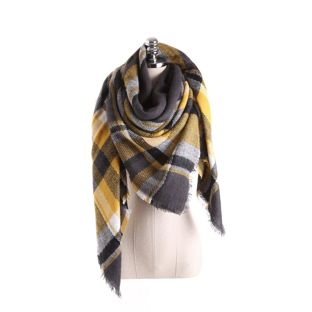 Chic Salybaby Lattice Stitching Multicolor Color Imitation Cashmere Scarf