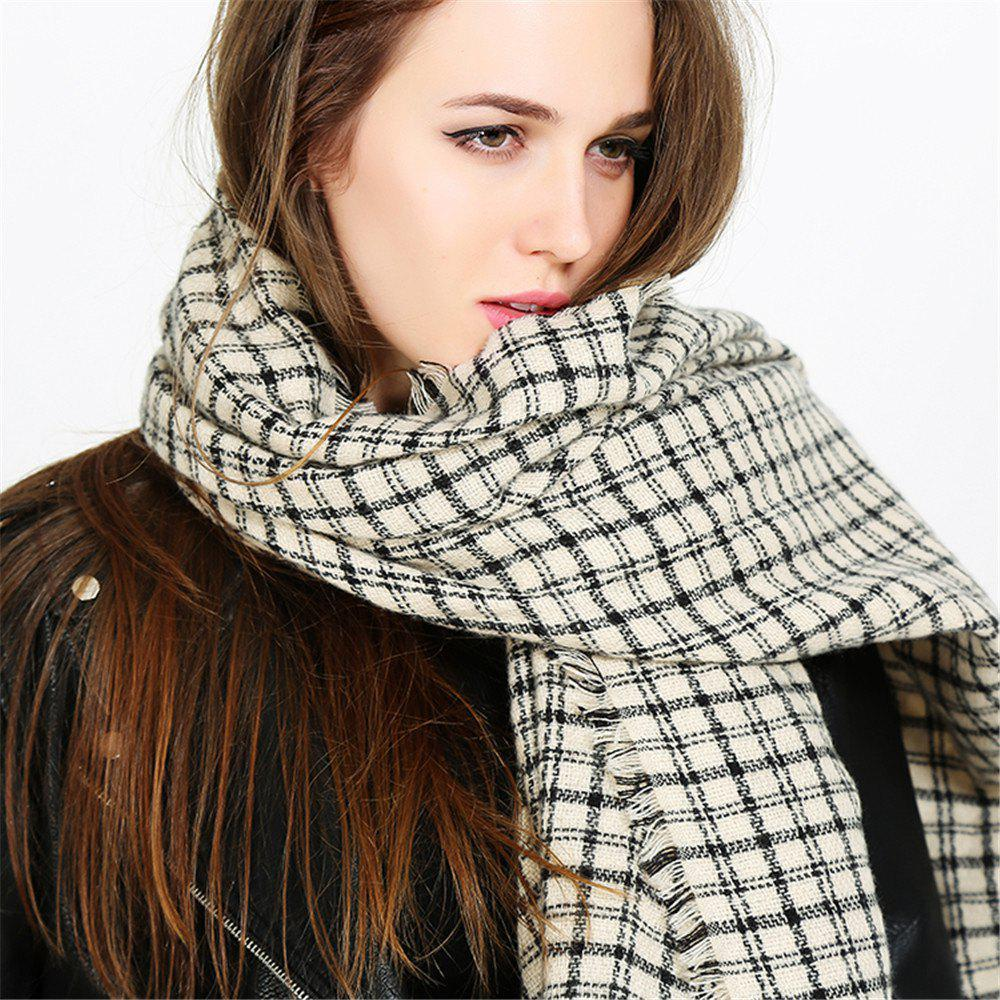 Hot Fashion warm and black-and-white Plaid Scarf