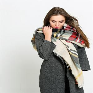 Coloured plaid like cashmere warm scarf -