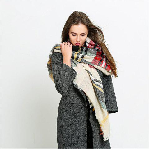 Discount Coloured plaid like cashmere warm scarf