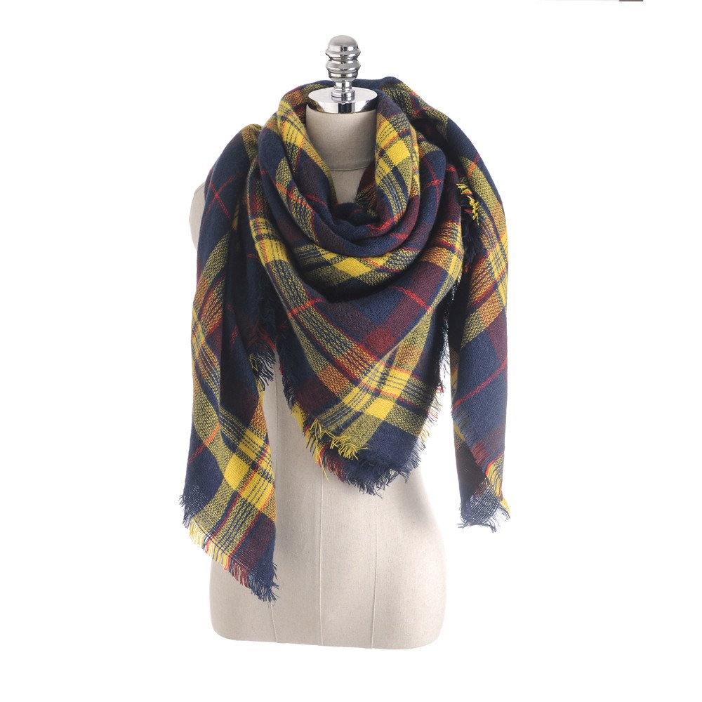 Affordable Coloured plaid like cashmere warm scarf