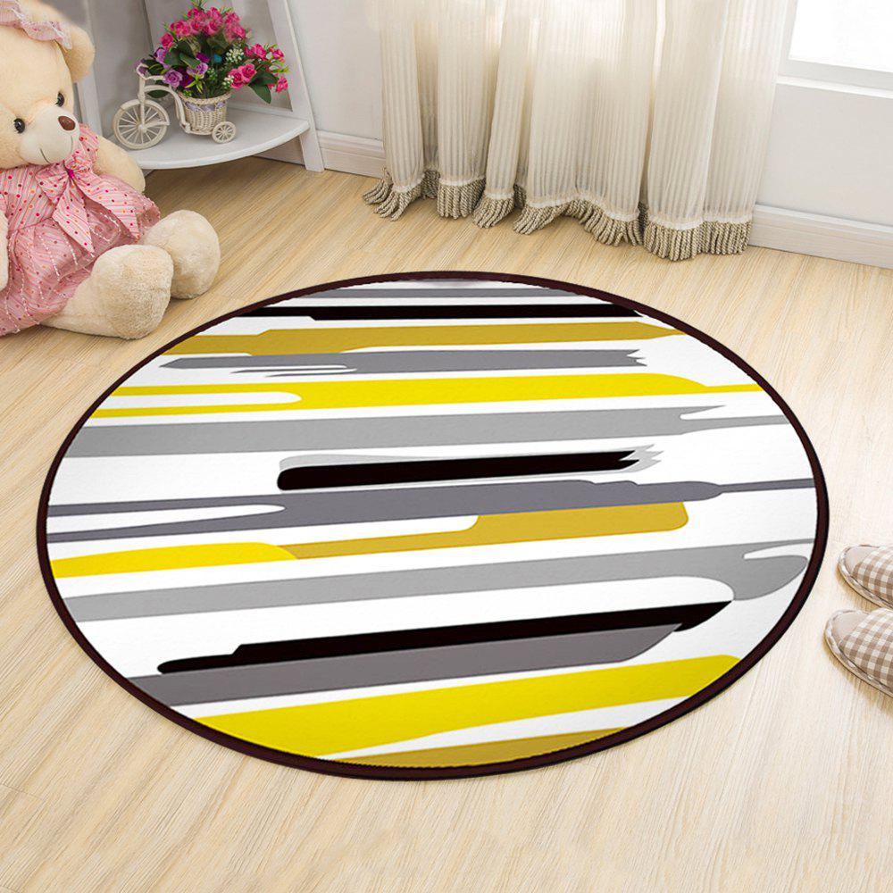 Fancy Floor Mat Modern Style Lines Pattern Multi Colored Round Decorative Mat1