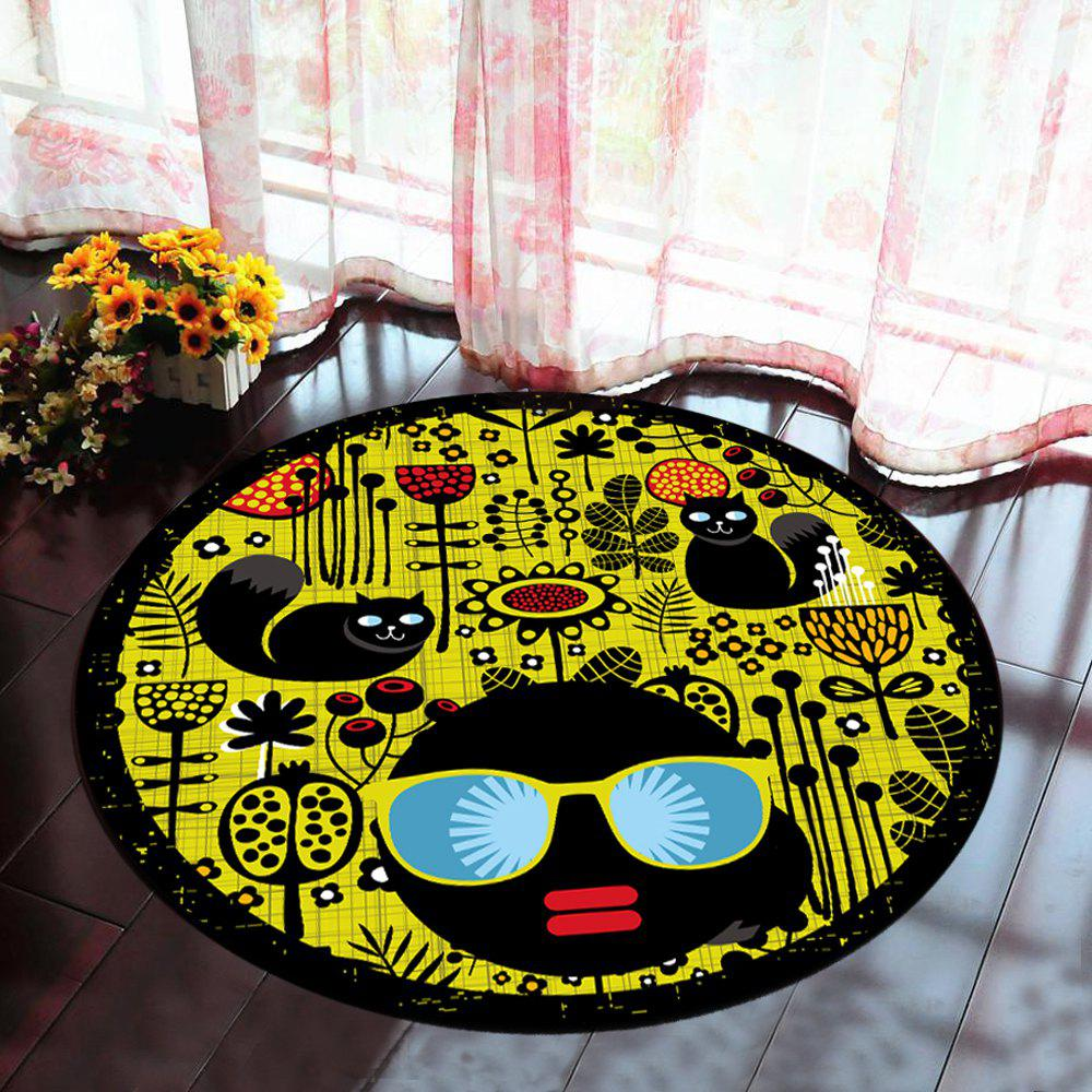 Hot Floor Mat Modern Style Faces Pattern Yellow Black Round Decorative Mat1