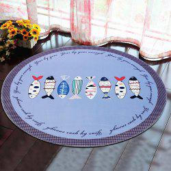 Round Rug Home Decorative Cute Horse Pattern Protective Floor Mat Pictographic fish1 -