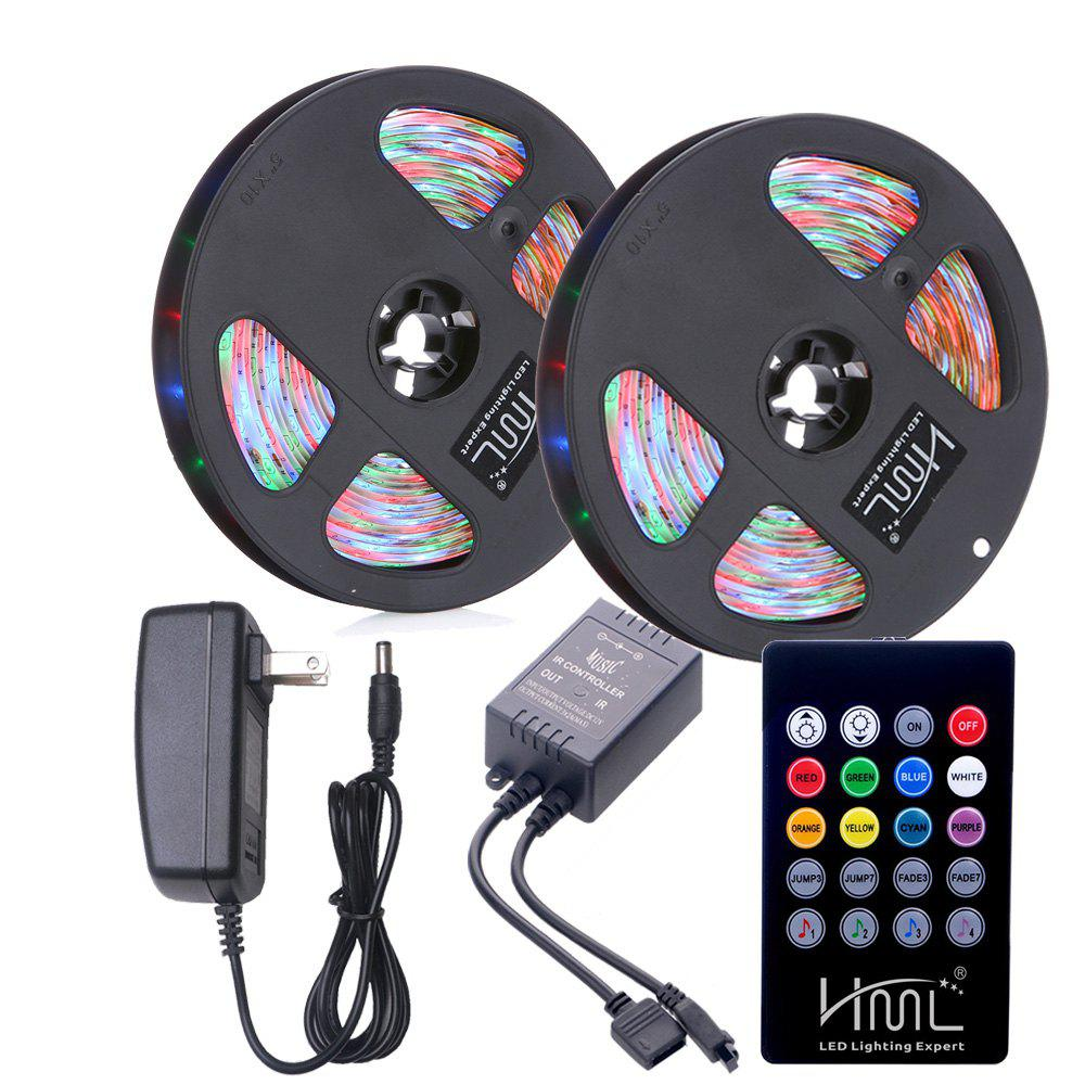 Fashion HML 2pcs 5M waterproof 24W RGB 2835 300 LED Strip Light - RGB with IR 20 Keys Music Remote Control and US Adapter